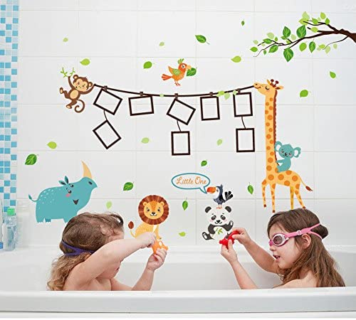 chambre denfant Animaux Cadres photos UniqueBella Sticker mural Enfants Vinyle Autocollant D/écoration pour maison