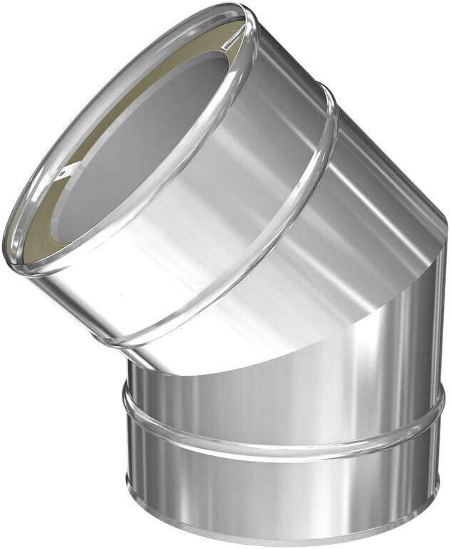 Edelstahlschornstein Winkel Silverfire Basic 45/° DW 150
