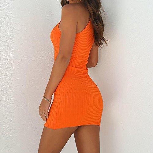 Sexy In Abito Vestito Da Donna Maniche Festa Sottile Unita Senza Balze,gonna Mini Arancione Tinta A Gonna Costina Piccolo Anca vwnNm80O