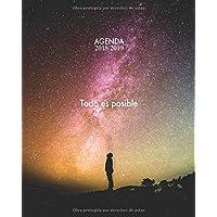 Agenda 2018/2019 Todo es posible: Agenda con frases motivacionales, Diseño estrellado, 15 meses, Semana Vista, 20 x 25cm