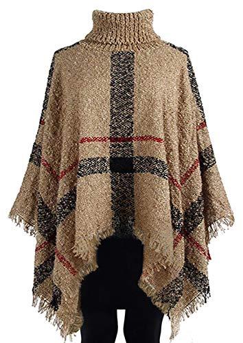 Top Dark Beige Elegant Shaman Wool Knit Cardigan Throw Ruffle Serape Poncho Tunic Long Wrap Coat Jacket Dresses Shawl Neck Sweater Women Birthday Gift Idea for Sale Ladies Misses (Style 2, Dark Beige) by TravelNut