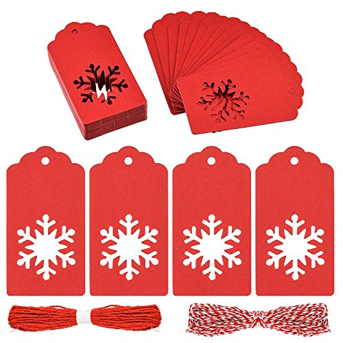 Snowflake Gift Tag - BTNOW 100 Pack Gift Tags Christmas Snowflake Shape Kraft Paper Tags Price Tags with 20 M Natural Jute Twine, 50 by 95 MM