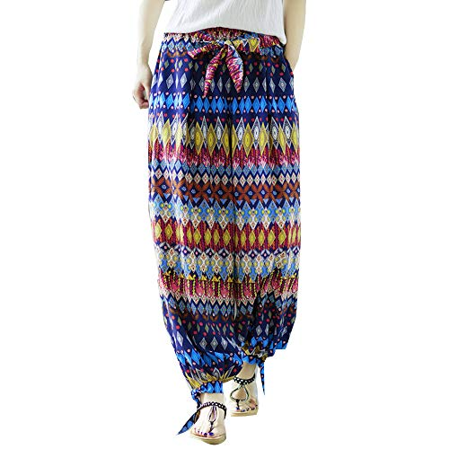 Sunmoot Plus Size Yoga Pants for Womens Summer Casual Loose Boho Print Baggy Elastic Waist Harem Ankle-Length Trousers Blue