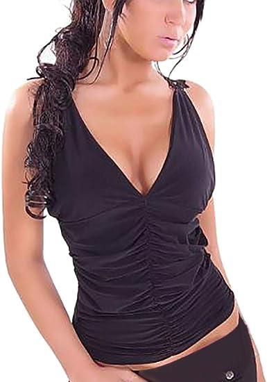 Goosuny Camiseta de mujer con encaje sin mangas, cuello en V, camiseta de verano, fiesta, blusa sexy, espalda descubierta, parte superior festiva.