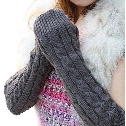 JOVANA Pair Lady Braided Knitted Crochet Long Soft Arm Fingerless Winter Warmer Gloves (Dark Grey 2)