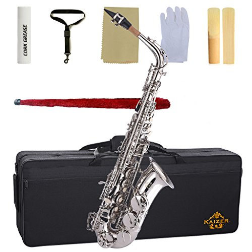 Kaizer Alto Saxophone E Flat Eb Nickel Silver 1000 Series Sax Includes Case Mouthpiece and Accessories ASAX-1000NK by Kaizer