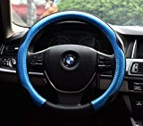 Car Steering Wheel Cover Automotive Interior Accessories-Microfiber Leather Anti Slip Wrap Universal Soft Odorless 15 inch (Blue)