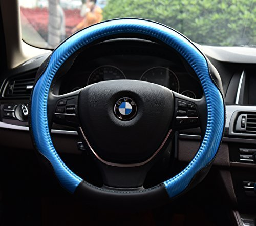 Sports Colorful Car Steering Wheel Cover Automotive Interior Protection - PU Leather Anti Slip Wrap Universal Fit for 15 inch (Blue) (Cover Wheel Blue Steering With)