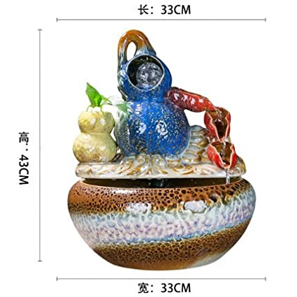 Fuente de agua de cerámica china humidificador adornos regalos empresariales inauguracion Salon Feng Shui