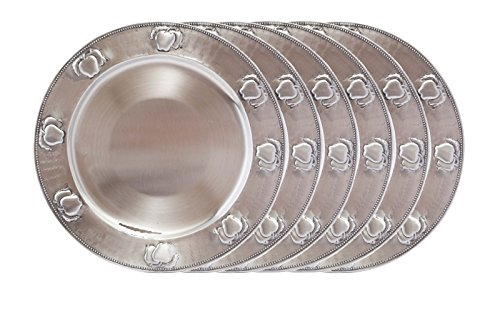 Old Dutch Antique Embossed Apple Charger Plates (Set of 6), Antique Pewter Antique Pewter Accessories