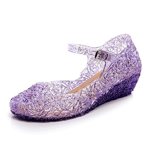 (Omgard Princess Jelly Shoes for Girls, Purple Dress Up Toddler Sandals, Cute Little Kids Mary Jane Shoes Size 11, LED Light Up Glitter Wedge with High Heel for Dance Party)