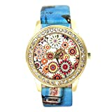 START Women Bling Diamond Crystal Oil Painting Pattern Wrist Watch-Blue
