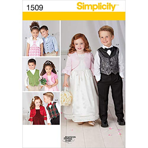Simplicity American Sewing Guild Pattern 1509 Boys and Girls Vest, Bolero and Bow tie Size 3-4-5-6-7-8 ()