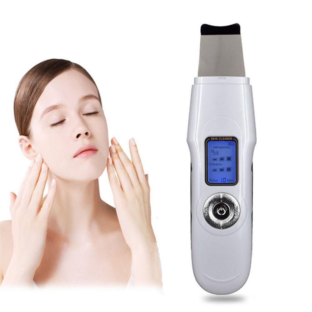 Zinnor Facial Skin Scrubber Spatula Machine Blackhead Remover Skin Exfoliator Pimple Extractor Pores Cleaner Facial Lifting Massager with LCD Display USB Charge - White