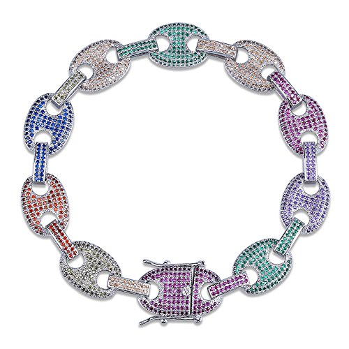 JINAO Mens Lab Diamonds Rainbow Iced Out Hip Hop Mariner Link Bracelet (Silver, 8)