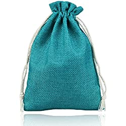 vLoveLife Teal Blue Burlap Candy Bags Jute Wedding Gift Bag With Drawstring Wedding Party Favor Gift Pouches 5'' x 7'' - Pack Of 50