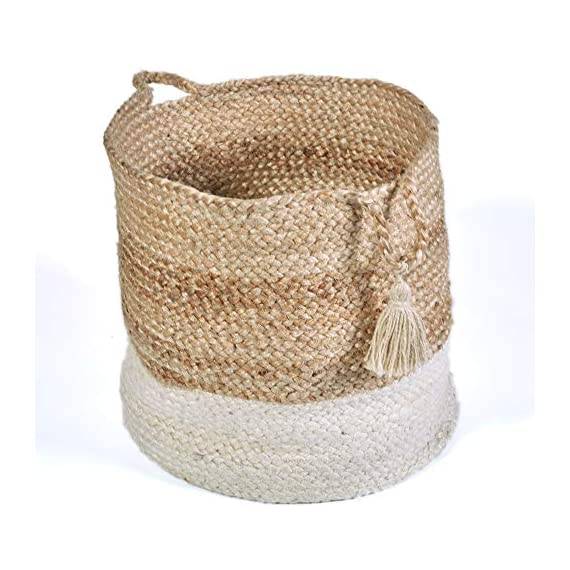 "LR Home Montego Decorative Storage Basket, 15"" High, Natural Jute - Made of 100Percent jute to compliment any decor Place this exclusive hands crafted, braided basket in your space for versatile ornamentation options Please note: the digital images may vary due to differences in computer monitors, some colors may vary slightly - living-room-decor, living-room, baskets-storage - 51ahTfNRkoL. SS570  -"