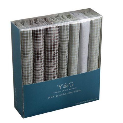 YEC02 Handmade Fabric Mens 7 Pack Handkerchiefs Set Evening Presents By Y&G