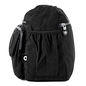 Crossbody Travel Bag Nylon Multi-pocket Shoulder Bag (938 Black)