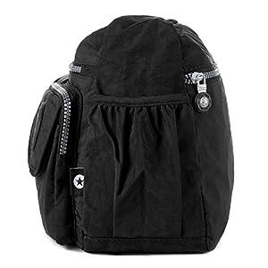 Crossbody Travel Bag Nylon Multi-pocket Shoulder Bag (938 Black)