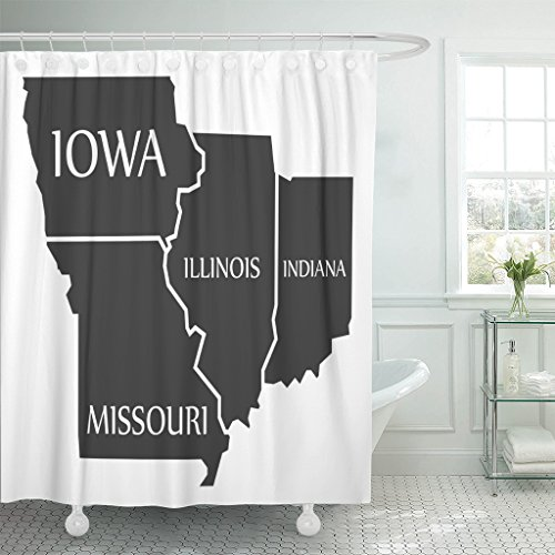 Emvency Shower Curtain State Iowa Missouri Illinois Indiana Map Labelled Black Administrative Waterproof Polyester Fabric 72 x 78 inches Set with Hooks