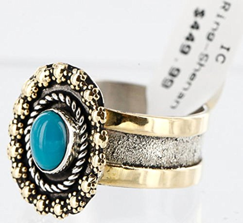- .925 Sterling Silver and 12kt Gold Filled Handmade Certified Authentic Navajo Turquoise Native American Ring