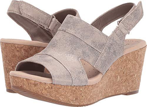 (CLARKS Women's Annadel Ivory Wedge Sandal Pewter Suede 095 M US)