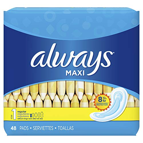 Feminine Maxi Pads - Always Maxi Feminine Pads for Women, Size 1, Regular Absorbency, Unscented, 48 Count - Pack of 6 (288 Count Total) (Package May Vary)