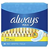 ALWAYS Maxi Size 1 Regular Pads Without Wings Unscented, 48 Count,packaging may vary