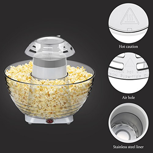 Excelvan Homemade Air-pop Popcorn Maker with Quick and Safe Operation, Popper Corn Machine with Removable Plus Bowl Suitable for Families Enjoyment, Party (White) by Excelvan (Image #4)