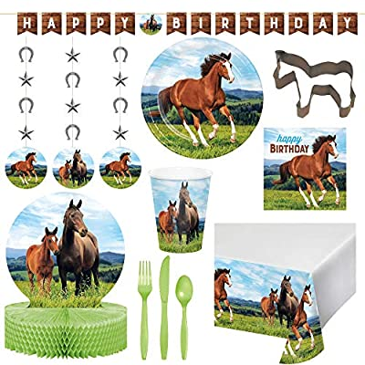 Two Trinkets Horse & Pony Theme Disposble Deluxe Bundle for 16 Guests: Dinner Plates, Luncheon Napkins, Cups, Cutlery, Table Cover, Banner, Danglers, Centerpiece + Bonus Cookie Cutter & Exclusive Two