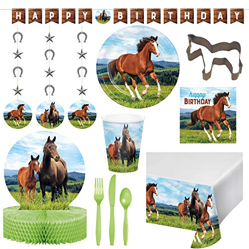 Horse Themed Parties (Two Trinkets Horse & Pony Theme Disposble Deluxe Bundle for 16 Guests: Dinner Plates, Luncheon Napkins, Cups, Cutlery, Table Cover, Banner, Danglers, Centerpiece + Bonus Cookie Cutter & Exclusive)