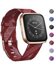 CAVN Armband Compatibel met Fitbit Versa 2 Band Geweven, Stof Band Nylon Sport Polsbandjes met Verstelbare Sluiting Horlogeband voor Fitbit Versa/Versa Lite/Versa 2 Smartwatch