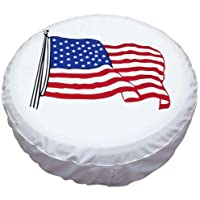 "Spare Tire Cover PVC Leather WaterProof Dust-proof Universal Spare Wheel Tire Cover White Flag Fit for Jeep,Trailer, RV, SUV and Many Vehicle 14"" 15"" 16"" 17"""