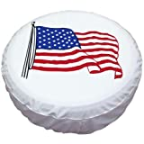 Spare Tire Cover 17 inch American Flag White Waterproof Universal Wheel Tire Covers for RV Jeep Trailer Honda CRV Toyota RAV4 SUV Camper (17'' for diameter 31''-33'')