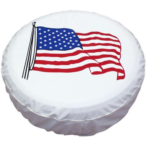 Spare Tire Cover PVC Leather WaterProof Dust-proof Universal Spare Wheel Tire Cover White Star Fit for Jeep,Trailer, RV, SUV and Many Vehicle(15