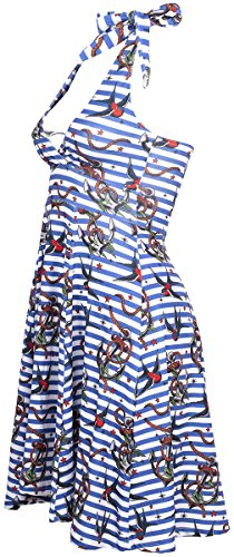 Liquor Brand Damen Kleid Anchor Birds Oldschool Dress Blau / Weiß mit buntem Muster XkxxERJ