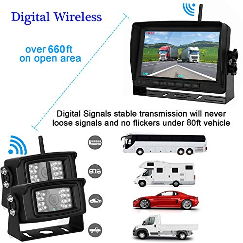 Upgraded Wireless Backup Observation System Screen RV/Pickup/Truck/Trailers/5th Waterproof