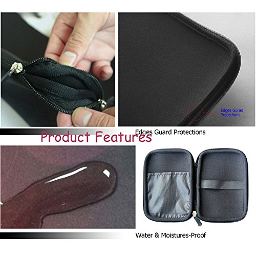 """WATERFLY Purple Flower And Butterfly 4"""" 4.5"""" 5"""" 5.5"""" Inch Neoprene Rainproof Hard Drive Bag Pouch Carrying Case For Samsung Seagate HN-M201RAD Momentus SpinPoint ST2000LM003 2TB 2.5"""" SATA II Notebook Hard Drive, Mobile Power ,Smart Phone, Wallet, Mp4 Plaryer or Electronics, Accessories And Most 4"""" 5"""" 5.5"""" Inch Device"""