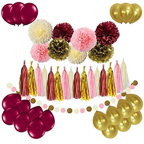f7d51d2a0d7b Sogorge Bridal Shower Decorations 49pcs Burgundy Pink Glitter Gold Birthday  Decorations Tissue Paper Pom Pom Tassel