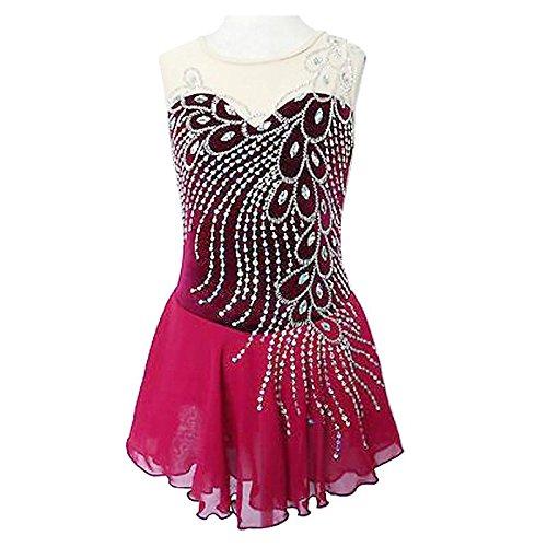 Sin Alta Pink Mujer Hielo Ropa Diseño Rendimiento Anatómico Chica Lzzna Artístico Patinaje Sobre De Vestido Mangas 6qxwCv
