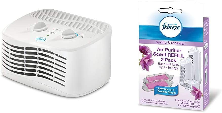 Febreze FHT170W HEPA-Type Tabletop Air Purifier with Febreze Scent Refill, Spring and Renewal, 2-Pack