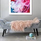 Pink Mongolian Sheepskin Fur Hide pelt Tibetan lambskin throw rug
