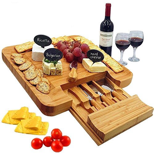 Bamboo Cheese Board & Cutlery Set with Slide-Out Drawer, 4 Piece Stainless Steel Knife, Charcuterie Plate & Serving Tray of Wine, Crackers. Includes 3 Label & Chalk, Fancy Wedding & House Warming (Tree Cheese Board)