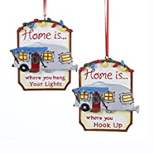 "3.25"" Resin Trailer Sign Ornament 2/asstd: ""home IS Where You Hook Up"" & ""home IS Where You Hang You"