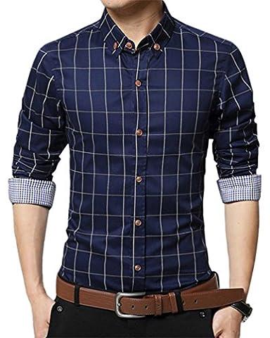 LIZHIGU Men's Cotton Long Sleeve Plaid Button Down Dress Shirt Causal Slim Fit Shirts Dark Blue (Tag 3XL/US - Button Down Plaid Dress Shirt