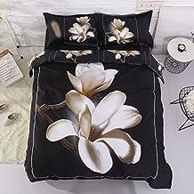Alicemall 3D Floral Bedding King Size White Big Blooming Magnolia Flower Black 4-Piece 3D Duvet Cover Set, Cotton Black Bed Set including Duvet Cover, Flat Sheet, 2 Pillow Cases (King)
