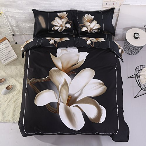Alicemall 3D Floral Bedding King Size White Big Blooming Magnolia Flower Black 4-Piece 3D Duvet Cover Set, Cotton Black Bed Set including Duvet Cover, Flat Sheet, 2 Pillow Cases (King) (Flowers Magnolia)