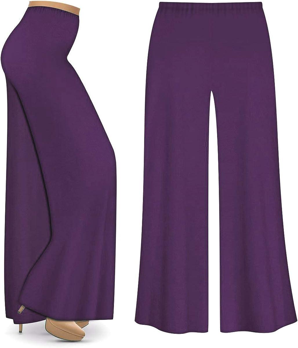 Amazon Com Purpura Poly Algodon Jersey Knit Ancho Pierna Mas Tamano Supersize Palazzo Pantalones Clothing