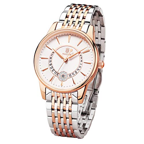 Women's Wrist Watch ROCOS Japanese Quartz Rose Gold Dress Watch with White Dial Ladies Crystal Analog Watches Luxury Classic Elegant Gift #R0120 (Silver)